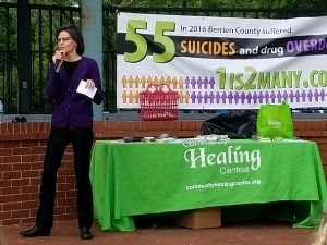 Sandy Fowler speaking at suicide prevention event