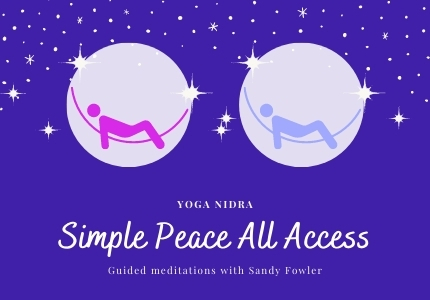 Logo for Simple Peace All Access, 2 graphics of person lying in hammock in front of the moon